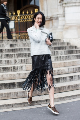 Paris Fashionweek day 6 outside Stella McCartney, Eva Chen